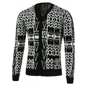 Geometric Pattern V-Neck Single-Breasted Cardigan - White And Black - M