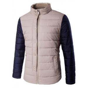 Snap Button Zip Up Stand Collar Two Tone Quilted Jacket