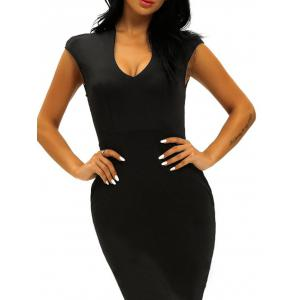 Low Cut Midi Bodycon Evening Dress -