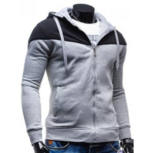 Color Block Splicing Design Hooded Long Sleeve Zip-Up Hoodie -
