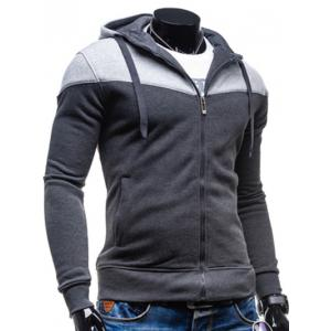 Color Block Splicing Design Hooded Long Sleeve Zip-Up Hoodie - DEEP GRAY L
