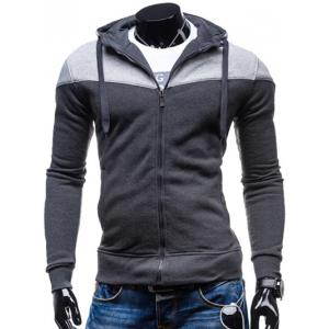 Color Block Splicing Design Hooded Long Sleeve Zip-Up Hoodie - Deep Gray - M