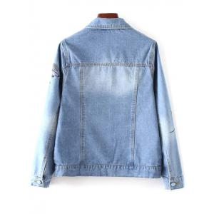 Bird Embroidered Button Up Denim Jacket -