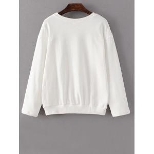 Flower Embroidered Sweatshirt - WHITE L