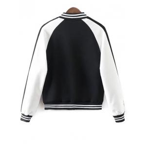 Buttoned Embroidered Baseball Jacket - WHITE/BLACK M
