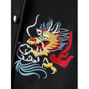 Buttoned Embroidered Baseball Jacket - WHITE AND BLACK M