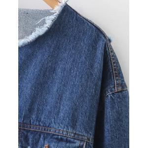 Patched Ripped Denim Jacket - BLUE L