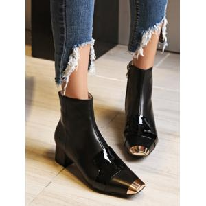 Zipper Metal Toe Splicing Ankle Boots -