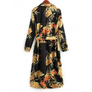 Long Sleeve Belted Floral Shirt Dress -