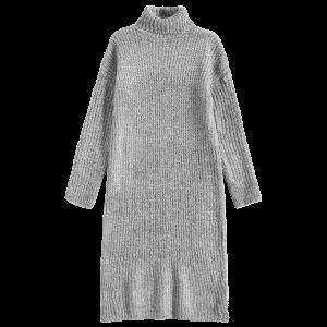 Turtleneck Tweed Chunky Midi Jumper Dress - Gray - One Size