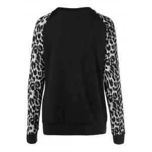 Sequined Pocket Leopard Sleeve Sweatshirt -