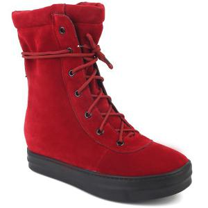 Platform Increased Internal Tie Up Short Booots - RED 39