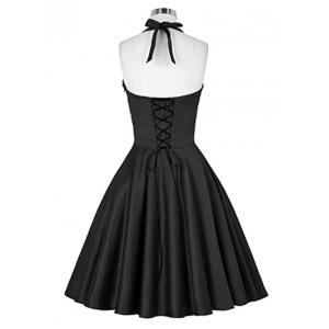 Retro Criss-Cross Back Ruched Swing Dress -