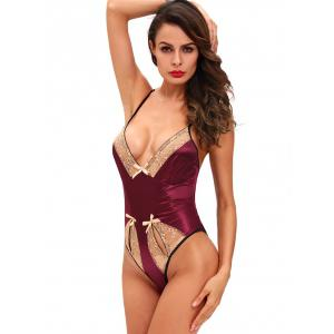 Cami Lace-Insert Cut Out Teddy - DEEP RED L
