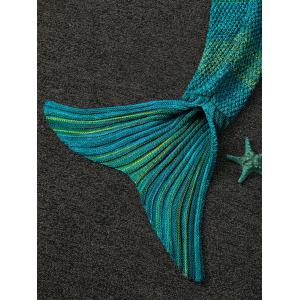 Doux Color Block Tricoté Sleeping Bag Blanket Wrap Mermaid - Cyan