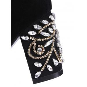 Zipper Rhinestones Chunky Heel Ankle Boots -