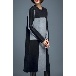 Color Block Shift Knit Dress - GRAY XL