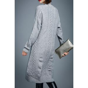 Long Sleeve Cable Knit Sweater Dress - GRAY XL