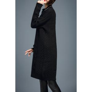 Long Sleeve Cable Knit Sweater Dress - BLACK M