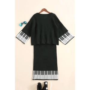 Striped Sweater and Knee Length Sheath Skirt - BLACK ONE SIZE