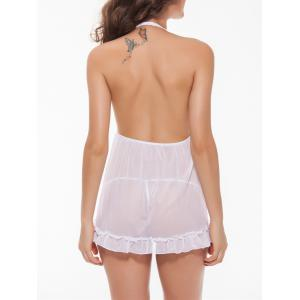 Backless Halter Plunge Tulle Babydoll Sleepwear - WHITE 2XL
