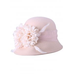 Flourishing Flower Feather 1920s Cloche Hat - LIGHT APRICOT