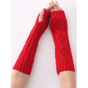 Christmas Winter Diamond Hollow Out Crochet Knit Arm Warmers - RED