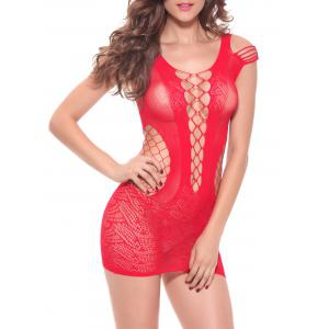 Fishnet Openwork Plunge Tight Babydoll - RED ONE SIZE