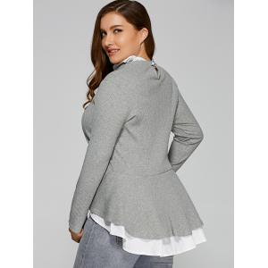 Plus Size Ruffled Peplum Sweater - GRAY 5XL