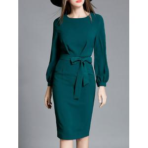 Bowknot Long Sleeve Pencil Dress -