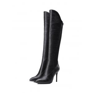 Splicing Ruched Pointed Toe Thigh Boots -