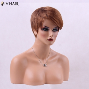 Inclined Bang Straight Short Fluffy Human Hair Wig - AUBURN BROWN