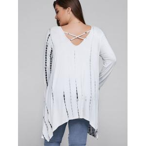 Plus Size Asymmetrical Cut Out Blouse - WHITE 5XL