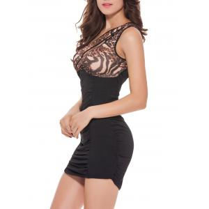 Leopard One Shoulder Mini Bodycon Dress - BLACK XL