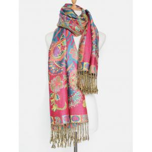 Outdoor Ethnic Paisley and Flower Pattern Tassel Pashmina -