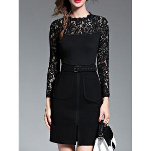 Empire Waist Lace Spliced Slit Pencil Dress with Long Sleeves -