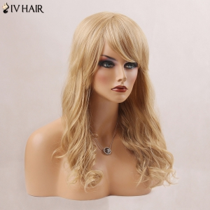 Long Fluffy Oblique Bang Wavy Human Hair Wig - BLONDE