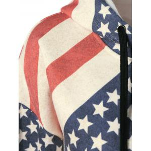 American Flag Distressed Drawstring Hoodie -