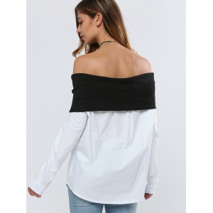 Off Shoulder Color Block Blouse - WHITE AND BLACK XL