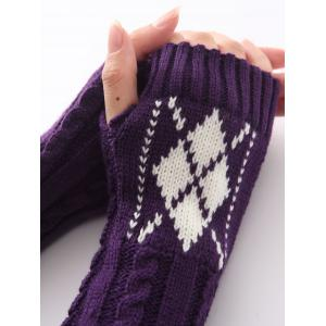 Hemp Decorative Pattern Diamond Christmas Crochet Knit Arm Warmers - PURPLE