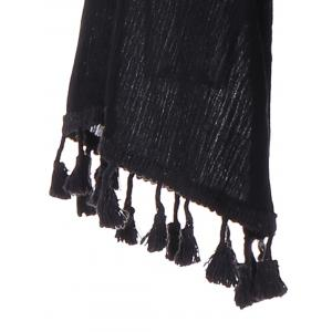 Long Flare Sleeve Tassel Cuff Blouse - BLACK 2XL