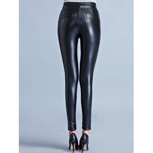 Stretchy Faux Leather Flocking Pants -