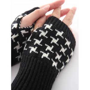 Christmas Winter Vertical Stripe Plover Case Crochet Knit Arm Warmers -