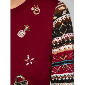 Festival Sequins Embroidery Christmas Graphic Sweatshirt -