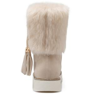 Flat Heel Tassels Faux Fur Snow Boots - OFF-WHITE 37