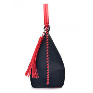 Color Block PU Leather Tassel Handbag -