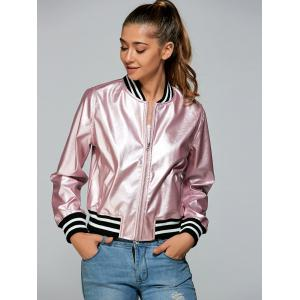 Zippered Striped Bomber Jacket - PINK S