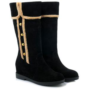 Dome Stud Increased Internal Mid-Calf Boots - BLACK 39