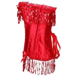 Sequined Fringe Steal Boned Corset - RED XL