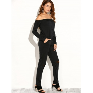 Off Shoulder Long Sleeve Cut Out Jumpsuit -